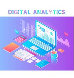 digital analytics emblem with laptop on desktop vector image
