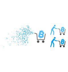 Disintegrating pixel halftone bitcoin shopping vector