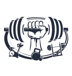 Dumbbell in hand symbol for sports vector