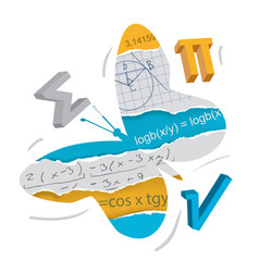 Easy learning of mathematics butterfly concept vector