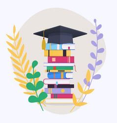 education infographic with pile school books vector image