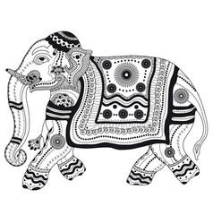Entangle stylized black elephant hand drawn vector