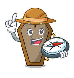 Explorer coffin mascot cartoon style vector