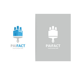 factory and brush logo combination vector image