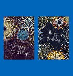 fireworks birthday card templates vector image