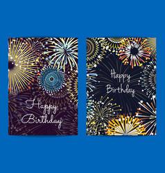 Fireworks birthday card templates vector