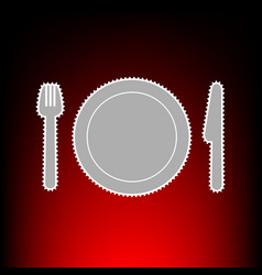 fk plate and knife vector image