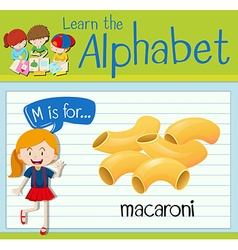 Flashcard letter M is for macaroni vector
