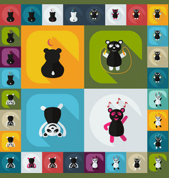 Flat concept set modern design with shadow panda vector
