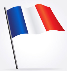 France french flag waving on flagpole vector