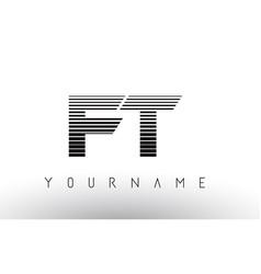 Ft f t black and white horizontal stripes letter vector