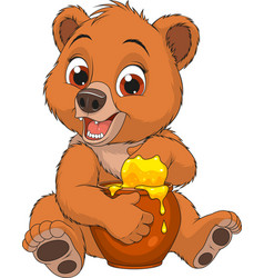 funny bear with a pot of honey vector image vector image