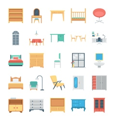 Furniture colored icons 6 vector