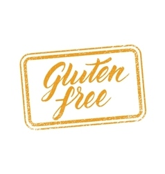 Gluten free stamp with hand drawn letterings vector image