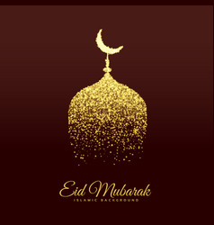 golden mosque make with glitter for eid festival vector image