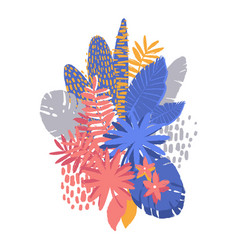 Graphic exotic plants drawn with rough brush vector
