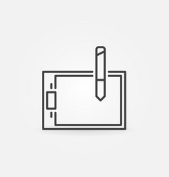 graphic tablet icon in thin line style vector image