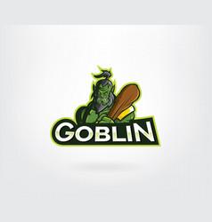 green angry goblin mascot character logo vector image