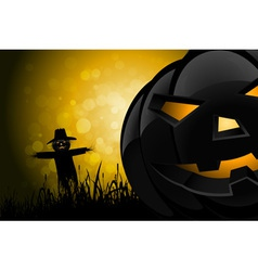 Halloween Background with Scarecrow and Pumpkin vector