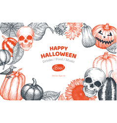 Halloween banner template hand drawn design with vector