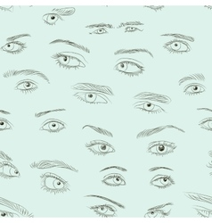 Hand drawn Eyes set pattern vector image