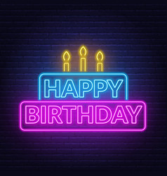 happy birthday neon sign birthday card in the vector image