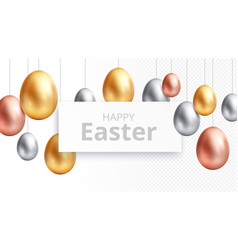 happy easter egg hunting banner celebrating vector image