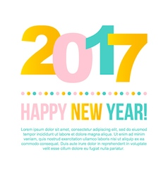 Happy New Year 2017 colorful greeting card vector