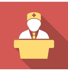 Health Care Official Flat Square Icon with Long vector
