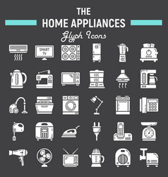 Home appliances solid icon set technology symbols vector