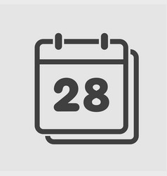 icon calendar day number 28 line flat vector image