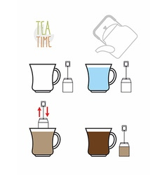 Instruction tea Infographics steps to make tea vector image