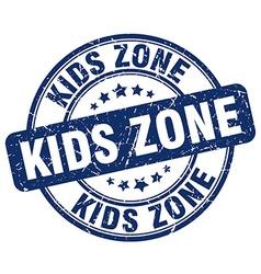 Kids zone blue grunge round vintage rubber stamp vector