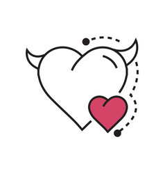 line icon style heart devil color pink vector image