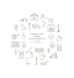 Line icons farmer round set vector image
