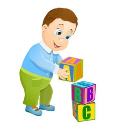 little boy playing vector image
