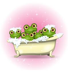 Llustration five merry frogs in bath vector