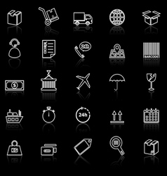 Logistics line icons with reflect on black vector