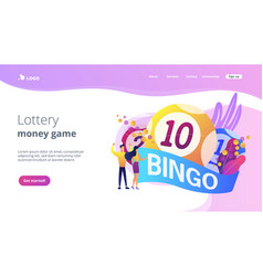 Lottery game concept landing page vector