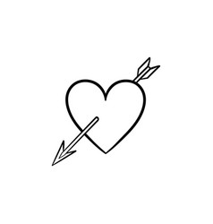 love heart with cupid arrow hand drawn sketch icon vector image