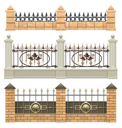 Metal fence set 3 vector