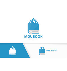 mountain and book logo combination nature vector image