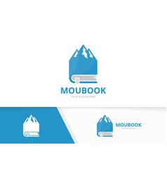 Mountain and book logo combination nature vector