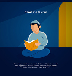 Muslim man reading holy quran in mosque vector