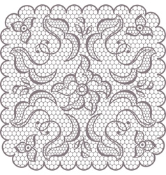 Old lace square background ornamental flowers vector image