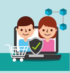 online shopping people customer blockchain vector image