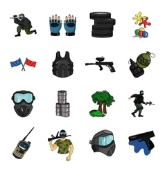 Paintball set icons in cartoon style Big vector