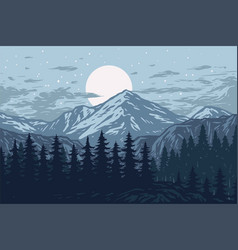 Panorama mountains evergreen trees landscape vector