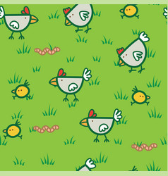 Pattern chickens walking on green grass and vector
