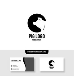 Pig head logo design and business card template vector